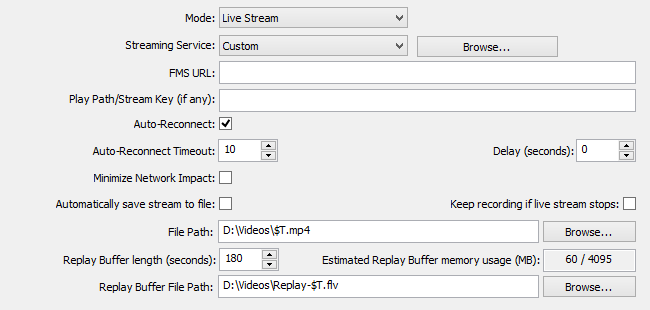 Broadcast settings - OBS Classic - Help Files