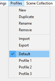 Profiles - OBS Classic - Help Files